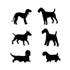 Vector set of dogs silhouette for design