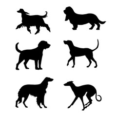 Set of decorative dogs silhouette for design
