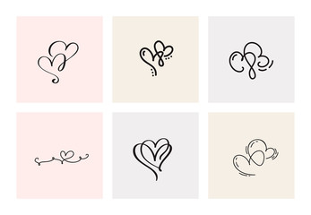 Set of six vintage Vector Valentines Day Hand Drawn Calligraphic Heart. Calligraphy lettering illustration. Holiday Design valentine. Icon love decor for web, wedding and print. Isolated