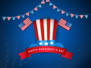 Uncle sam hat with USA national flags illustration on blue background for Happy President's Day template or poster design.