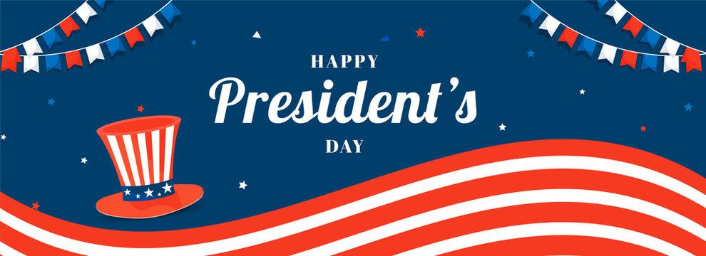 Happy President's Day header or banner design with illustration of uncle sam hat in USA flag color.
