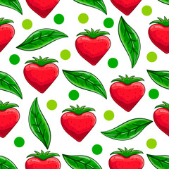 Seamless pattern with cartoon strawberry and leaves