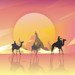 Vector illustration - Camels in the desert night, moon, with the Mountain Great Scenery. art.  nature. background