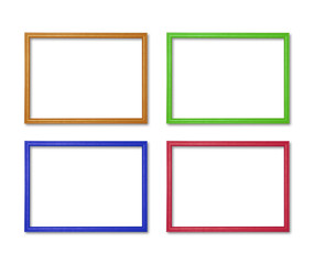wooden frame colorful callection set isolated on white background