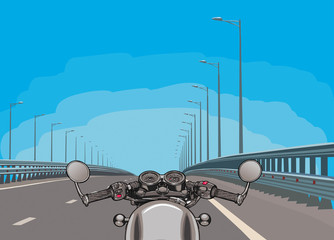 Driving a motorcycle on a highway. Flat vector.