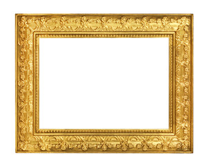 Fototapeta The antique gold frame on the white background