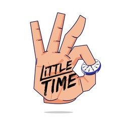 Hand picking wall clock with little time brush typographic - vector