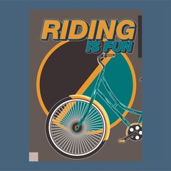 Bicycle. Advertising poster. Sport. Health.Travel. Flyer. Creative banner – Vector