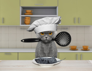 The hungry cat is going to cook a mouse