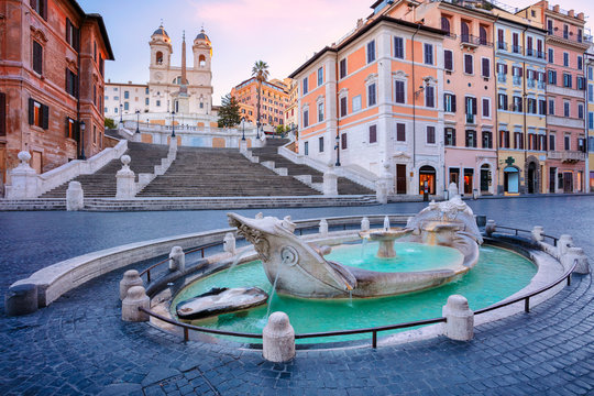 Spanish Steps, Rome. Cityscape image of Spanish Steps and Barcaccia Fountain in Rome, Italy during sunrise.