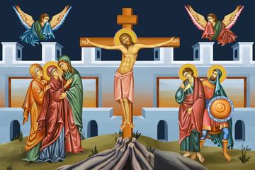Dies Passionis Domini. Galgofa. Illustration - fresco in Byzantine style.