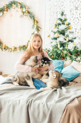 Cute girl with blond long hair plays with small Malamute puppies at home in a room decorated for Christmas
