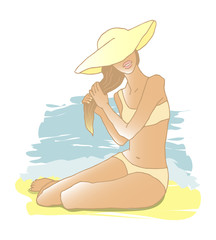 Girl in bikini and hat on the beach at the sea. Vector illustration, vacation image.