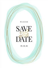 Gold and Light Blue Frame Save the Date Card Template
