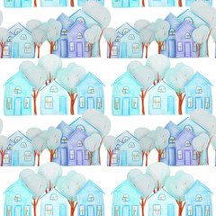 seamless pattern with winter houses drawn with colored pencils
