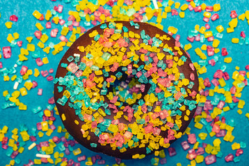 donuts with colorful crystal sugar