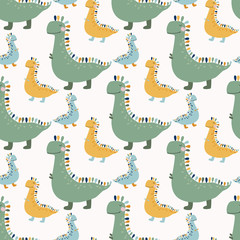 Childish vector illustrator of seamless pattern with hand drawn cute colofrul dinosaur. Funny vector dino background for fabric kids, textile, wrapping, nursery design, decoration backdrop.