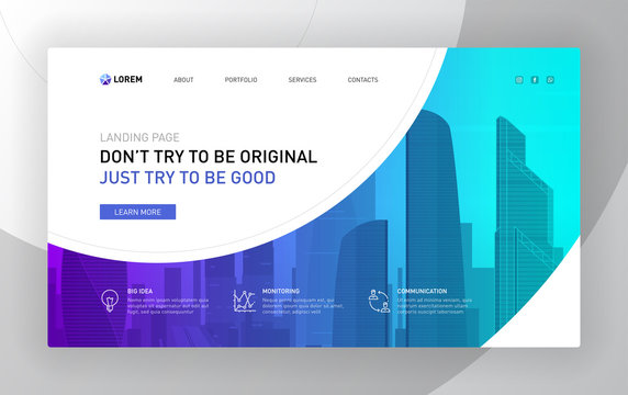 Landing page template for business. Modern web page design concept layout for website. Vector illustration. Brochure cover, banner, slide, powerpoint presentation screen template.
