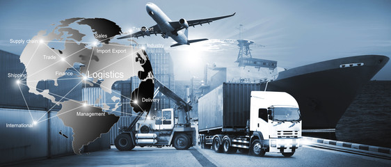 International Transportation, import-export and logistics ,shipping business Wall mural