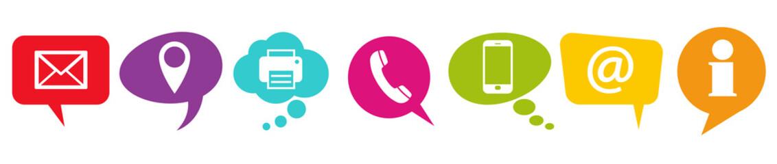 Fototapeta colored speech bubbles with communication icons obraz