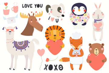 Foto auf Leinwand Abbildungen Big Valentines day set with cute funny animals, hearts, text. Isolated objects on white background. Hand drawn vector illustration. Scandinavian style flat design. Concept for card, children print.