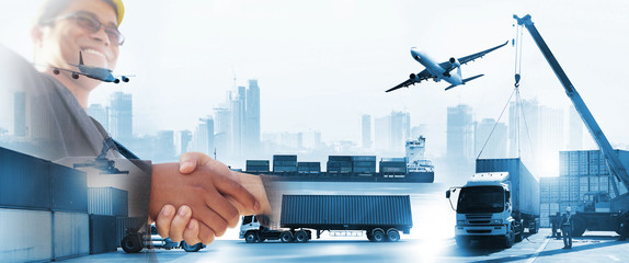 Transportation, import-export, commercial logistic, shipping business industry, container truck, ship in port and freight cargo plane