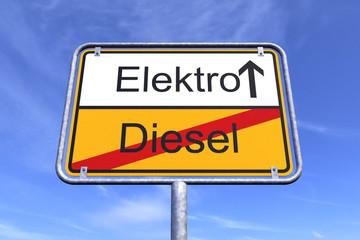 Ortsschild - Ortstafel - Elektro - Diesel - Himmel - Wolken