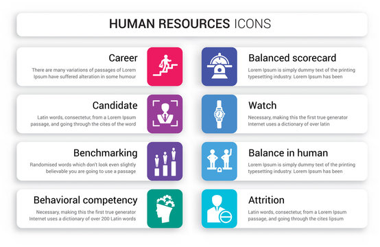 Set of 8 white human resources icons such as Career, Candidate, Benchmarking, Behavioral competency, Balanced scorecard, Watch isolated on colorful background