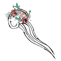 Vector hand drawn graphic illustration of sea animal, jellyfish with flowers, leaves Sketch drawing, doodle style. Artistic abstract line art. Black, white silhouette wirh colorful rose, poppy, leaf