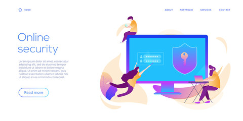 Personal data security in creative flat vector illustration. Online computer or mobile protection system concept. People making secure transfer or transaction with password via internet.