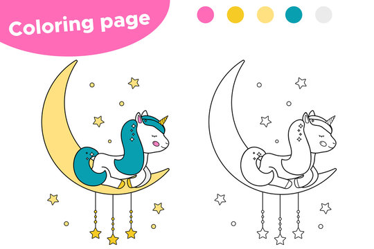 Coloring page for preschool kids. Cute cartoon unicorn is sleeping on the moon. Vector illustration.