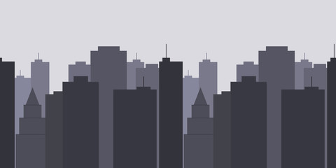 Megalopolis background.Seamless border with cute urban cityscape in the evening or at night: modern houses, buildings and Church or Cathedral. Vector illustration