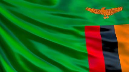 Zambia flag. Waving flag of Zambia 3d illustration