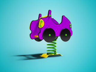 Carousel purple car on spring for kids 3d render on blue background with shadow