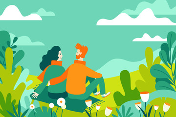 Wall Murals Green coral Vector illustration in flat linear style - spring illustration - landscape illustration with couple in love