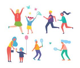 Park Activities Families Set Vector Illustration