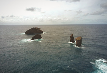 Aerial view from Islets in Mosteiros village. San Miguel island, Azores, Portugal.