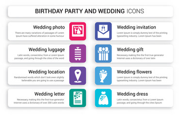 Set of 8 white birthday party and wedding icons such as Wedding photo, Luggage, Location, Letter, invitation, Gift isolated on colorful background