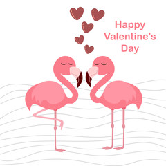 cute flamingo with hearts, vector illustration