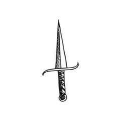 dagger vector doodle sketch isolated on white background