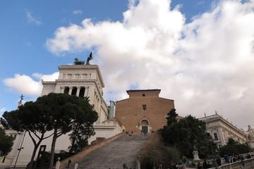Roma, panoramica sulla chiesa dell'ara Pacis con la scalinata
