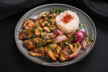 stir-fry food with wok vegetables
