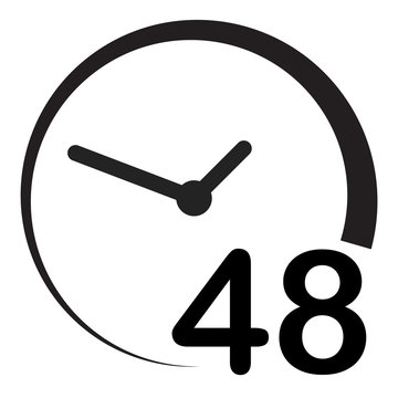 48 hours on white background. flat style. 48 hours sign. simple pictogram for your web site design, logo, app, UI. 48 hours symbol. turn around time icon with circular arrow.