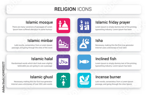 Set of 8 white religion icons such as Islamic Mosque, Minbar