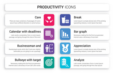 Set of 8 white productivity icons such as Care, Calendar with deadlines, Businessman and tactics, Bullseye target, Break, Bar Graph isolated on colorful background