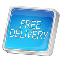 free Delivery Button - 3D illustration