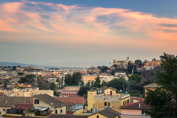 Panorama of Rome city at sunset with beautiful architecture, Italy