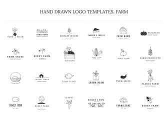 Farm logo templates set. Vector hand drawn minimal objects.