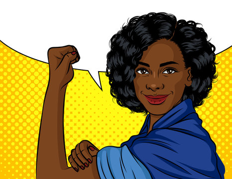 Color vector illustration in pop art style. African american woman holding her hand into a fist. A poster on the topic of female labor, power and feminism. A working woman fights for her rights
