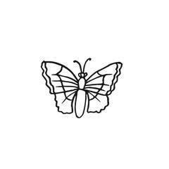 butterfly vector doodle sketch isolated on white background